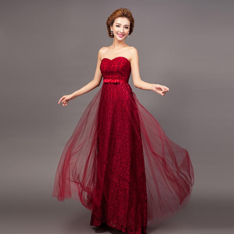 tüllü uzun kırmızı elbise