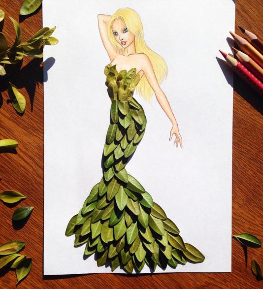 yapraktan elbise tasarımı