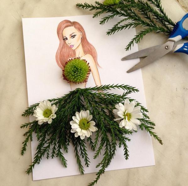 çiçekten elbise tasarımı